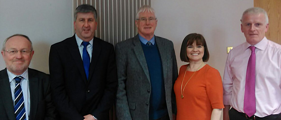 L to R: Seamus Gallagher, Chair HMI West, Maurice Power, CEO Salt University health care Group, John Connaghan, Deputy Director General HSE, Lucy Nugent, President HMI, Tony Canavan, Chief Officer CHO 2